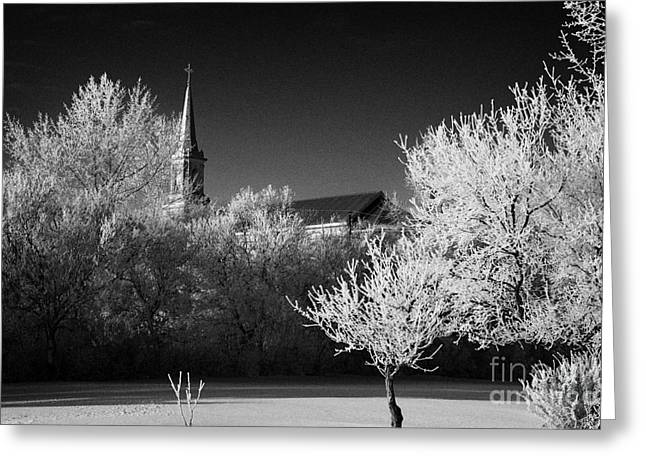 st josephs old church and rectory in Forget Saskatchewan Canada Greeting Card