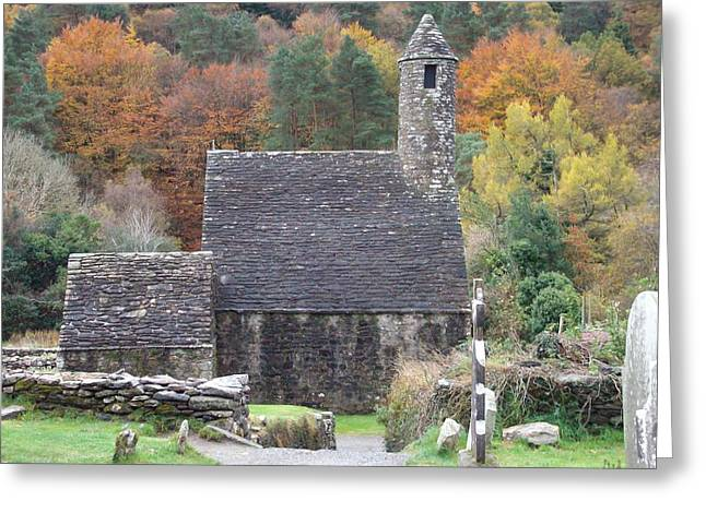 Greeting Card featuring the photograph St Kevin's Glendalough Ireland by Alan Lakin