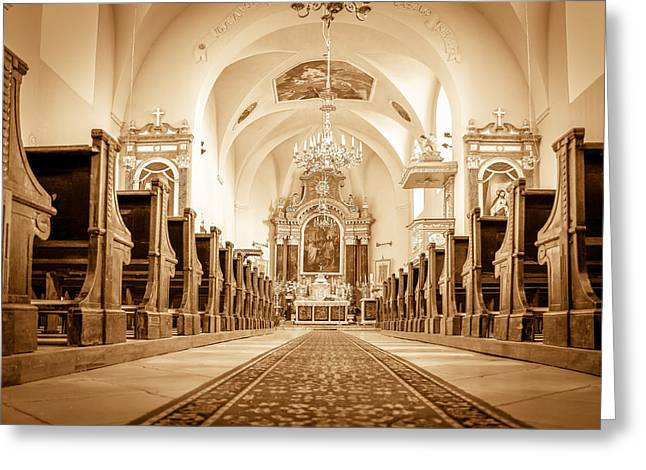 St Laszlo Roman Catholic Church Oradea Romania Greeting Card