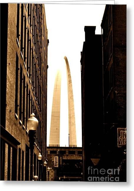 St. Louis Arch Through Buildings Greeting Card