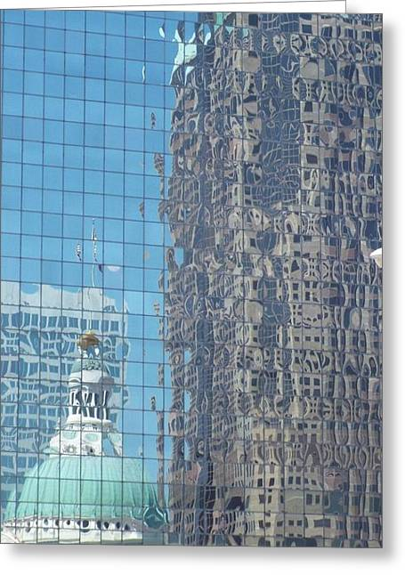 St. Louis Bldg Reflections Greeting Card by Cindy Croal