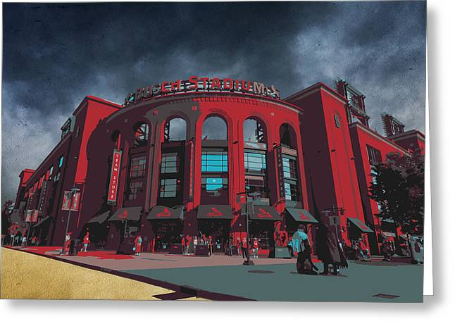 St. Louis Busch Stadium Cardinals 9162 Art Greeting Card by David Haskett