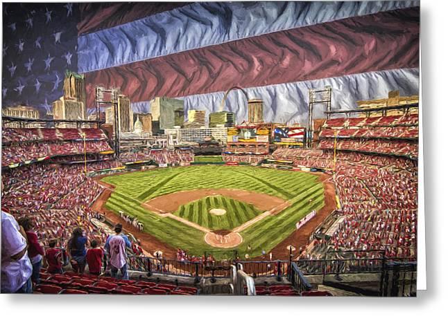 St Louis Cardinals Busch Stadium National Anthem Paint Greeting Card by David Haskett