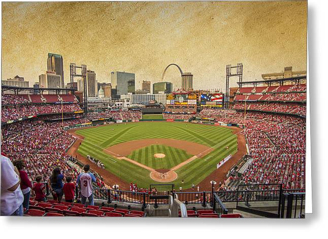 St. Louis Cardinals Busch Stadium Texture 9252 Greeting Card by David Haskett