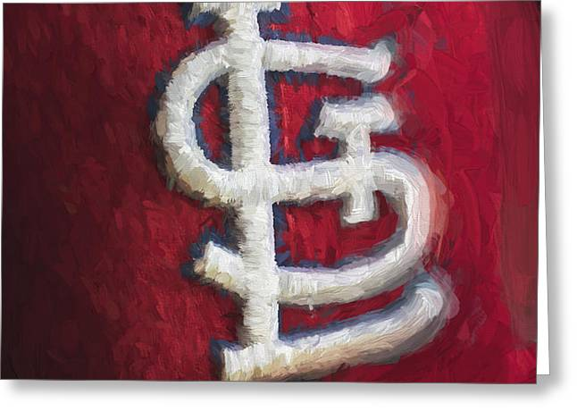 St. Louis Cardinals Red Paint Greeting Card by David Haskett