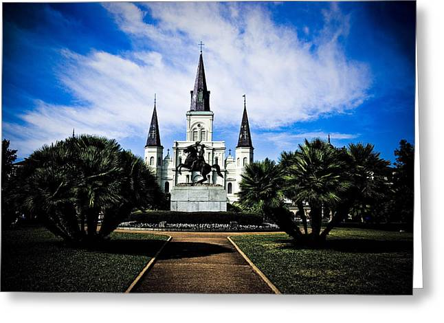 Greeting Card featuring the photograph St Louis Cathedral In Jackson Square by Ray Devlin
