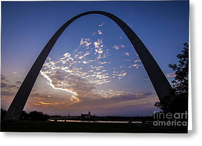 St. Louis Gateway Arch Sunrise  8895 Greeting Card by David Haskett