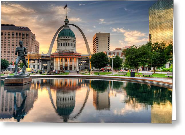 St. Louis Skyline Morning Reflections Greeting Card