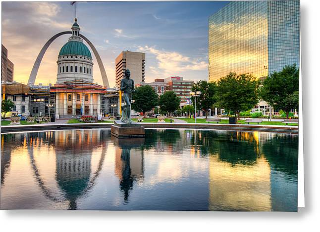 Downtown St. Louis City Reflections Greeting Card by Gregory Ballos