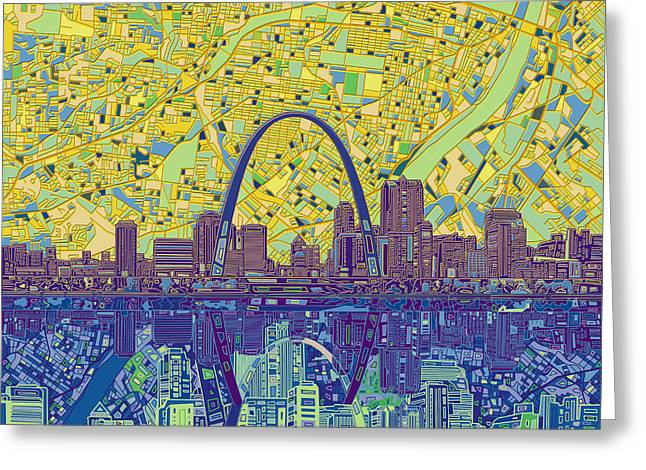 St Louis Skyline Abstract 10 Greeting Card
