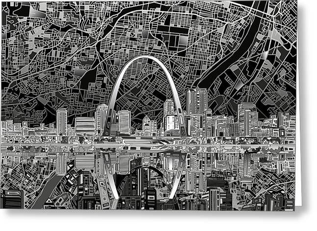 St Louis Skyline Abstract 2 Greeting Card