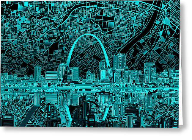 St Louis Skyline Abstract 4 Greeting Card