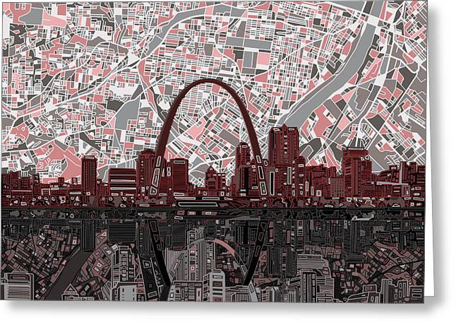 St Louis Skyline Abstract 7 Greeting Card