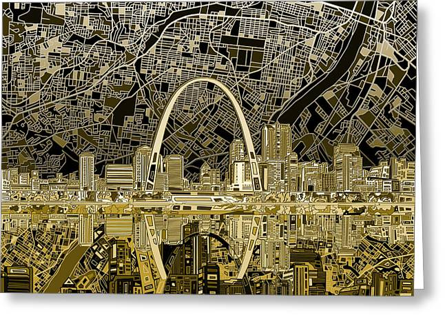 St Louis Skyline Abstract Greeting Card by Bekim Art