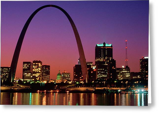 St. Louis Skyline And Arch At Night Greeting Card