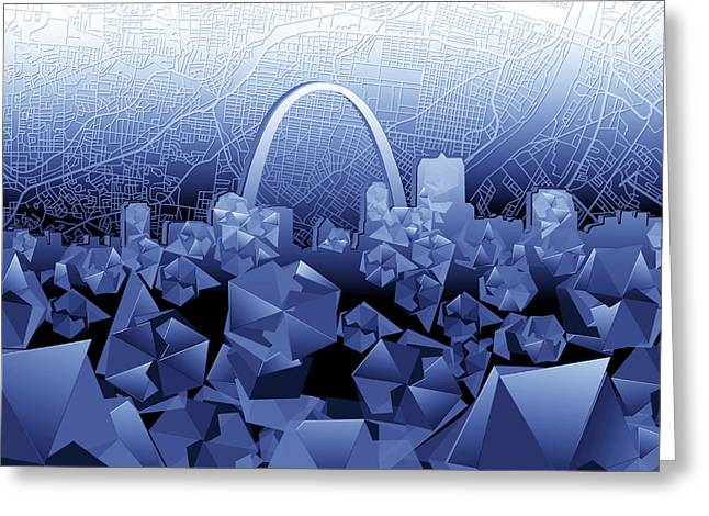 St Louis Skyline Geometric2 Greeting Card