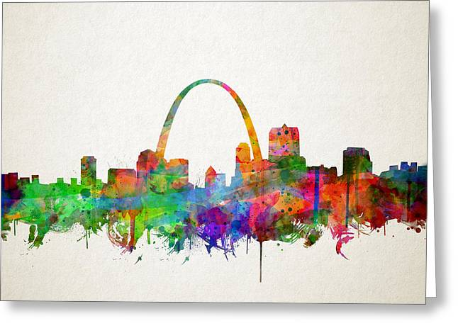 St Louis Skyline Watercolor 2 Greeting Card