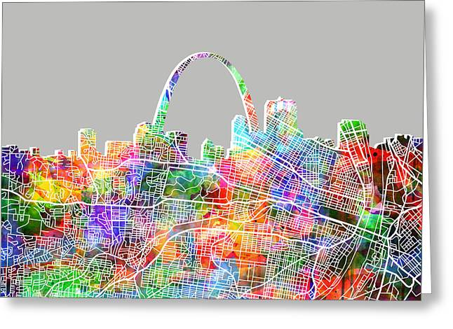 St Louis Skyline Watercolor 3 Greeting Card