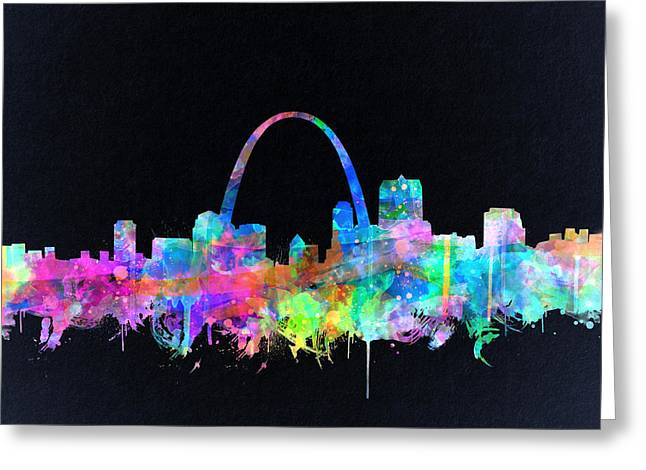 St Louis Skyline Watercolor 4 Greeting Card