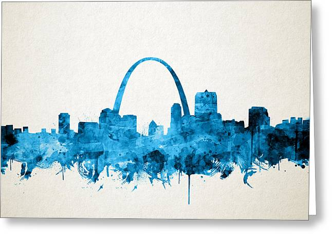 St Louis Skyline Watercolor Greeting Card