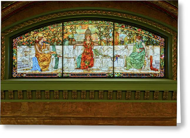 St Louis Union Station Allegorical Window Greeting Card by Greg Kluempers