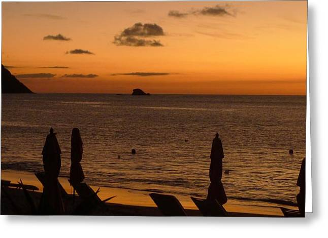 St. Lucia - Sundown - Closed Umbrellas Greeting Card