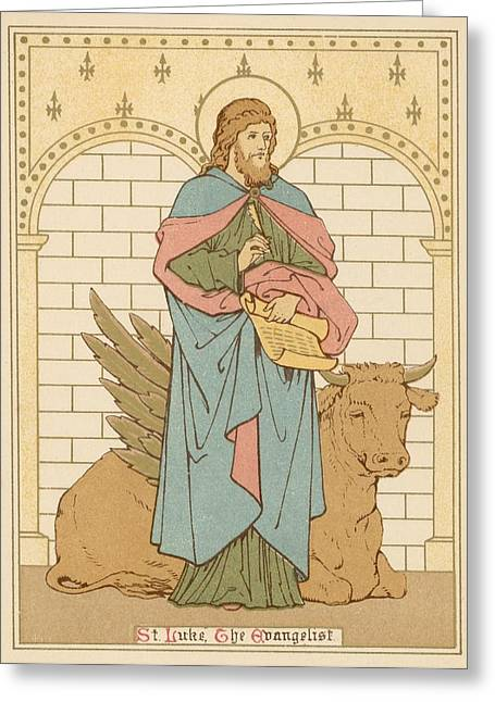 St Luke The Evangelist Greeting Card by English School