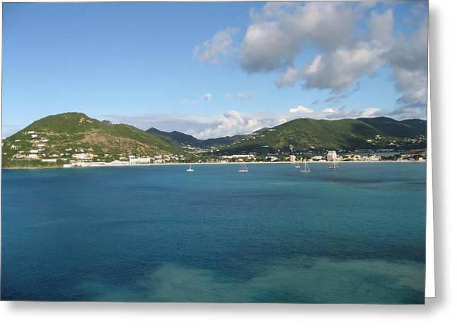 Greeting Card featuring the photograph St Maarten At A Distance by Jean Marie Maggi
