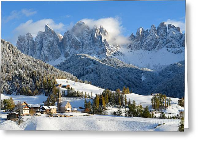 St. Magdalena Village In The Snow In Winter Greeting Card