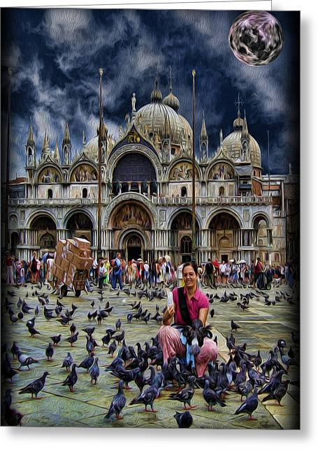 St Mark's Basilica - Feeding The Pigeons Greeting Card by Lee Dos Santos