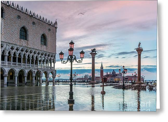 St Marks Square Flooded At High Tide - Venice Greeting Card by Matteo Colombo