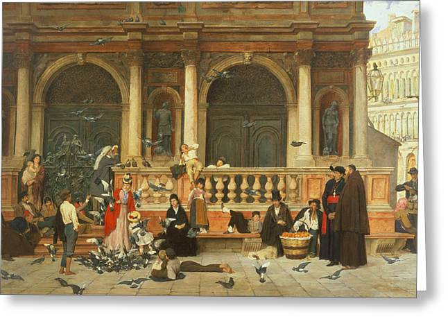 St. Marks, Venice Greeting Card by Adolf Echtler