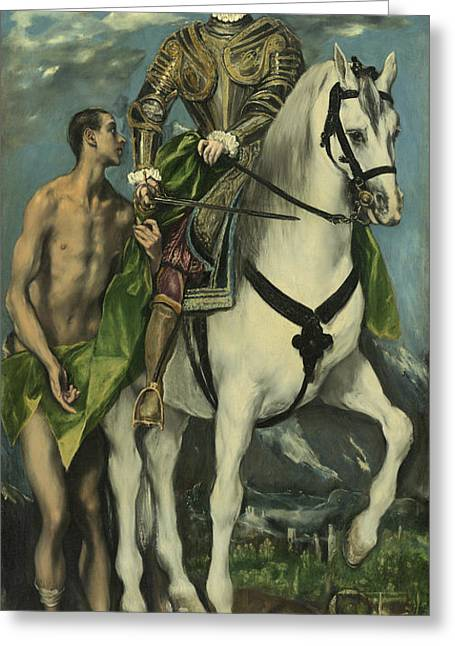 St. Martin And The Beggar Greeting Card by Domenico Theotocopuli El Greco