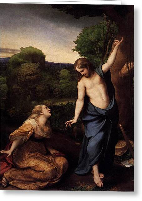 St Mary Magdalene And Christ Greeting Card by Antonio Correggio