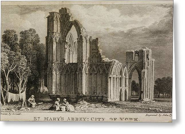 St Mary's Abbey Church Greeting Card by British Library