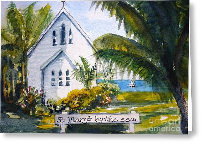 St Marys By The Sea - Original Sold Greeting Card by Therese Alcorn