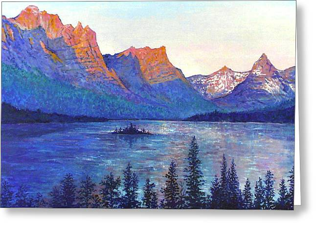 St. Mary's Lake Montana Greeting Card by Lou Ann Bagnall