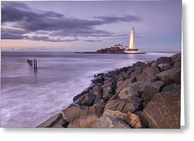 St Mary's Lighthouse  Greeting Card by Chris Frost