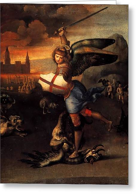 St. Michael Greeting Card by Raffaello Sanzio
