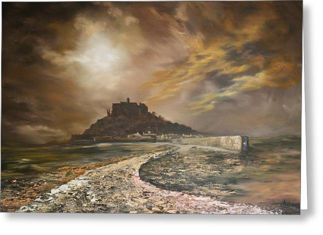 Greeting Card featuring the painting St Michaels Mount Cornwall by Jean Walker