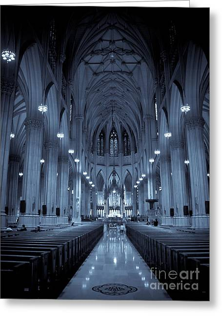 St. Patricks Cathedral Greeting Card by Ken Marsh