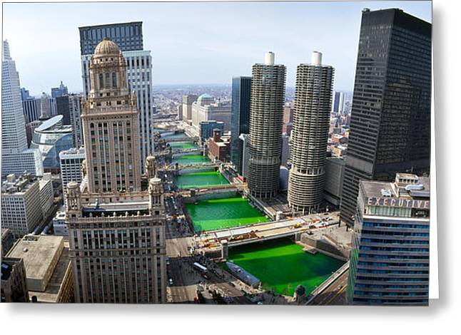 St. Patricks Day Chicago Il Usa Greeting Card by Panoramic Images
