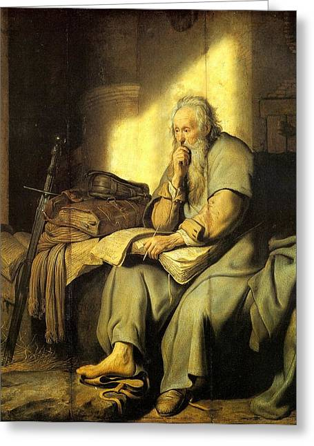 St. Paul In Prison Greeting Card by Rembrandt van Rijn