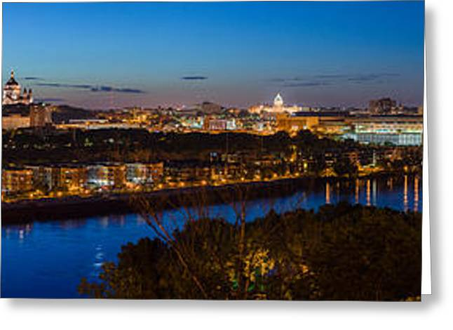 Greeting Card featuring the photograph St Paul Skyline At Dusk by Mike Evangelist