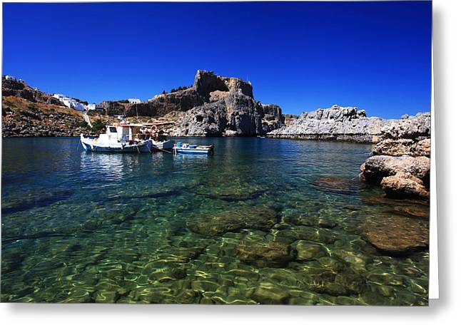 St Pauls Bay Lindos Rhodes Greece Greeting Card by Ollie Taylor