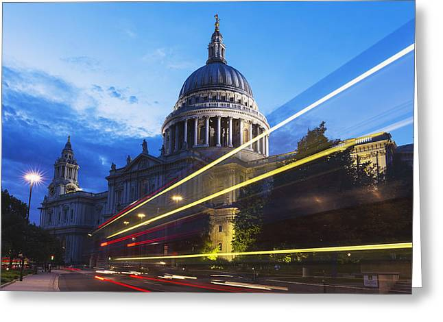 St. Pauls Cathedral And Light Trails Greeting Card