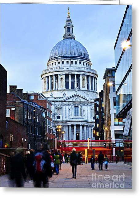 St. Paul's Cathedral At Dusk Greeting Card