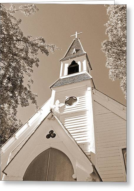 St. Paul's Church Port Townsend In Sepia Greeting Card by Connie Fox