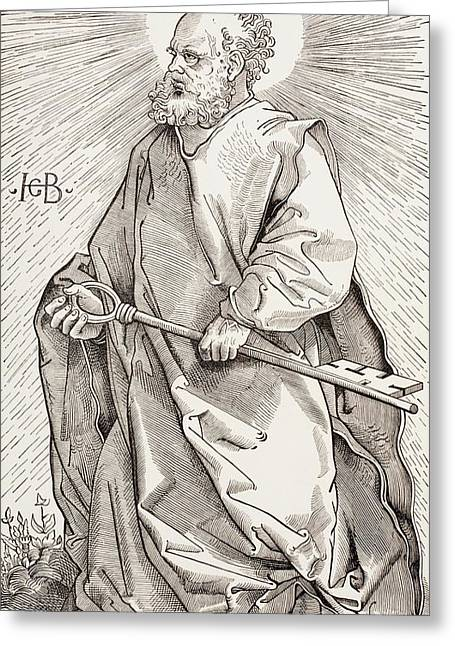 St Peter Holding The Keys Of The Kingdom Of Heaven Greeting Card by French School