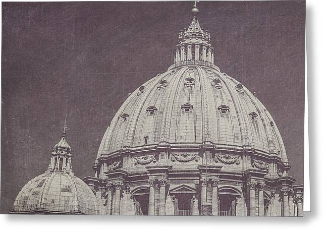 St. Peter's Basilica Dome In Black And White Greeting Card by Maren Misner